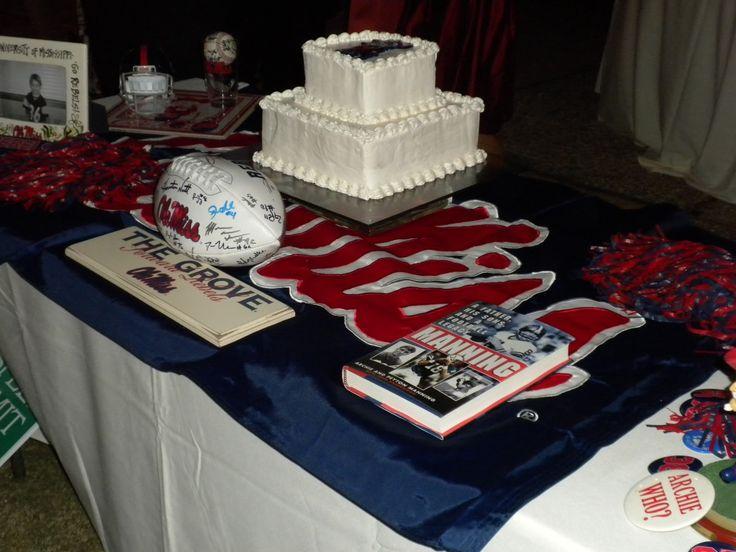 ole miss grooms cake   Wes's groom's cake table--ALL OLE MISS