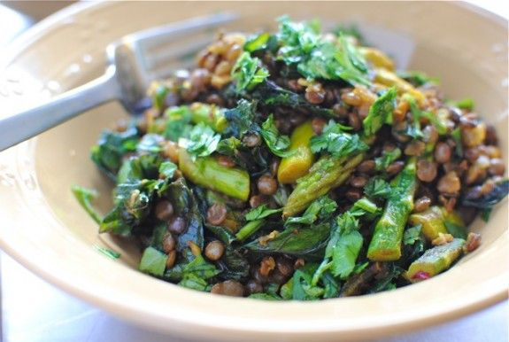 Indian Lentil Saute with Kale and Asparagus - Vegan