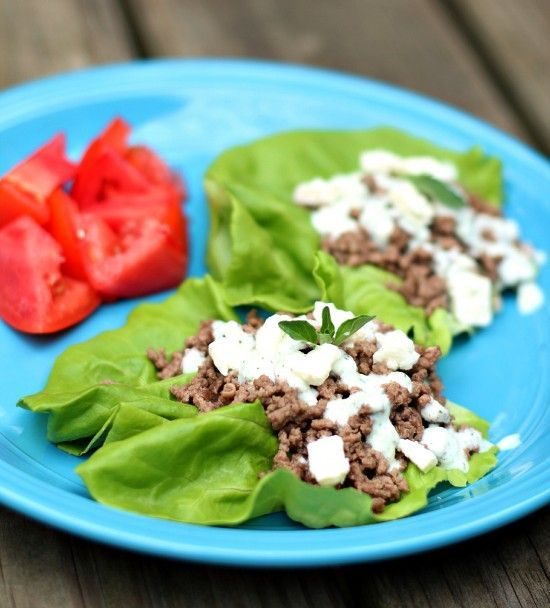 Greek Lettuce Wraps with Tzatziki Sauce-these would be great with falafel filling instead of beef.  Avoid the carbs in pita bread at dinner time