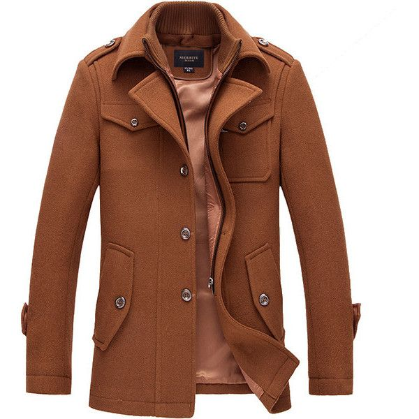 Mens Winter Gentlemanlike Coat Single-breasted Warm Turndown Collar... ($67) ❤ liked on Polyvore featuring men's fashion, men's clothing, men's outerwear, men's coats, mens coats, mens fur collar coat, mens fur lined coat and mens single breasted pea coat