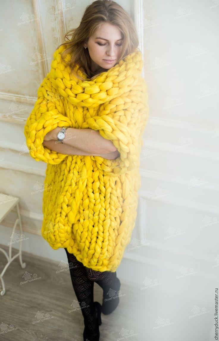 Knitted cardigan | Купить Кардиган из толстой пряжи - желтый, кардиган, верхняя одежда, карди, свитер, толстая пряжа