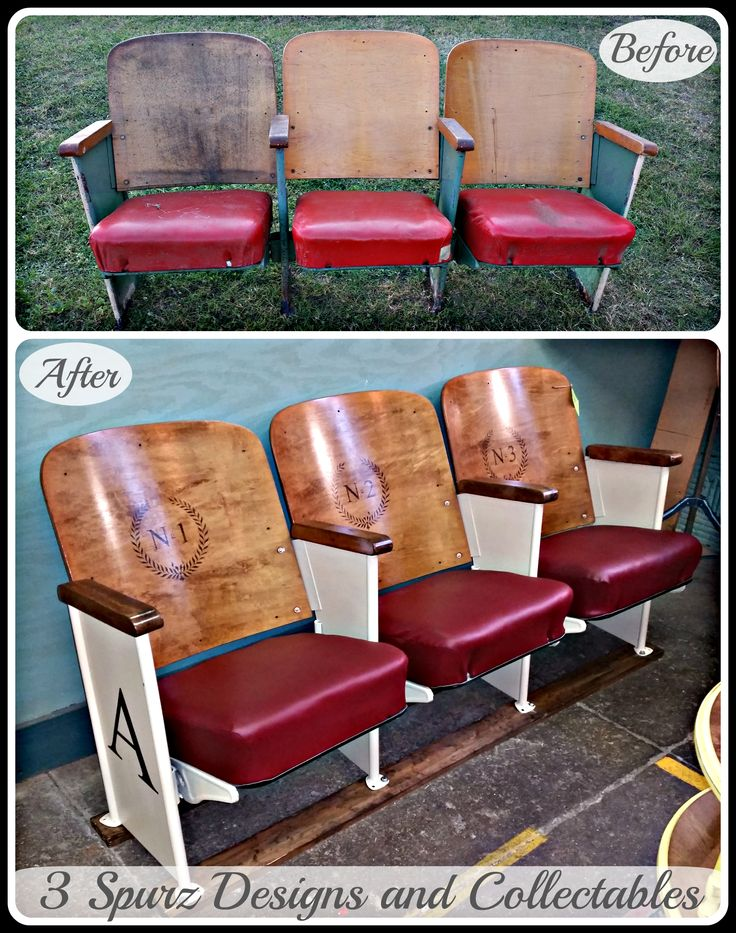 Vintage movie theater seats with heat transfer. Follow us for more wonderful pins at www.pinterest.com/3spurzdandc www.facebook.com/3SpurzDesignsAndCollectables www.3spurzdesignsandcollectables.com