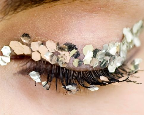 "INSPIRATION: ""FESTIVE"" Eyes & lashes decorated with gold cutouts CHANEL #MUA: Peter Philips"