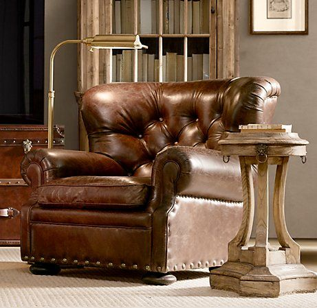 Churchill Leather Reading Chair from Restoration Hardware.traditional, but  sooooo comfortable!