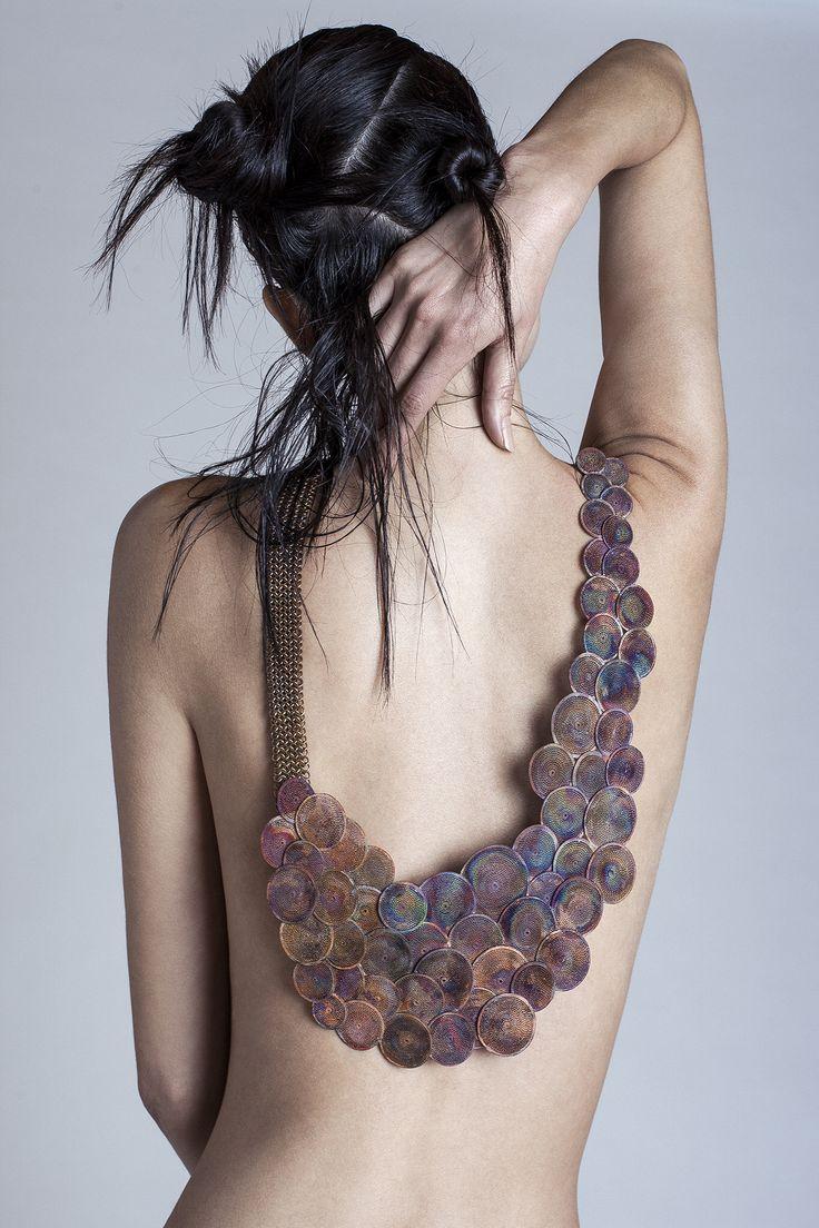 Necklace, Copper,filigree, by Valeria Martínez.