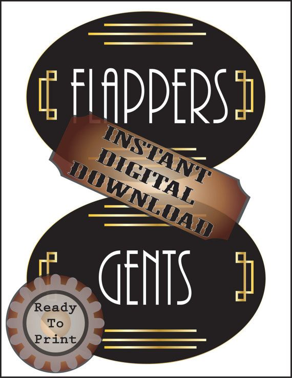Gatsby-inspired Art Deco Style Oval Restroom signs for Flappers and Gents.  Great for a Roaring 20s themed party or wedding reception. This pair