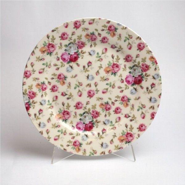 Фарфоровые обеденные тарелки с розами купить в интернет магазине