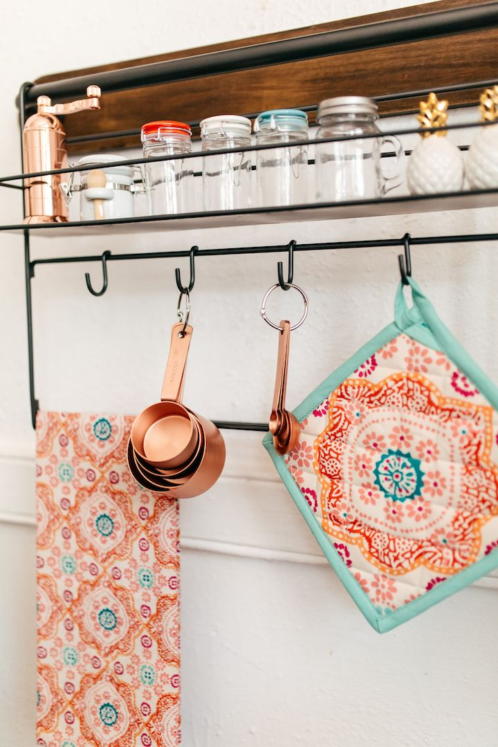 haute off the rack, decorating small spaces, world market, kitchen decor, how to create storage space in small kitchen, copper kitchen, storage display ideas, kitchen organization, home decor, wall decor, wall storage display,