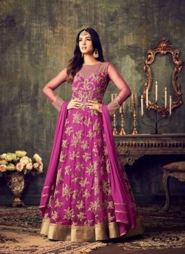 Purple designer wedding wear floor length anarkali  kamiz in net