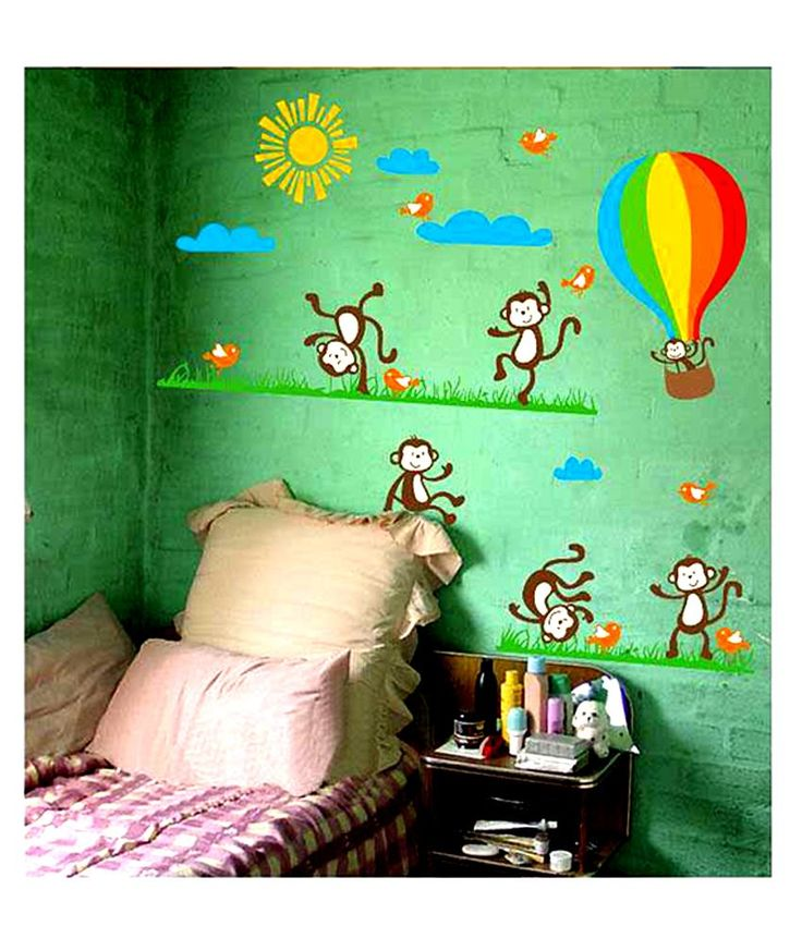 Syga Multicolour Pvc Vinyl Monkey Wall Sticker