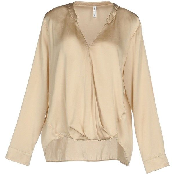 Aglini Blouse ($140) ❤ liked on Polyvore featuring tops, blouses, beige, v neck tops, beige long sleeve blouse, v neck long sleeve top, beige long sleeve top and beige blouse