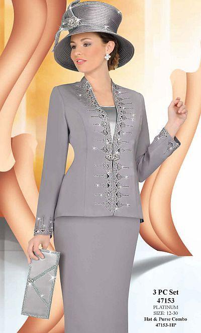 Ben Marc Hats | Ben Marc International Womens 3pc Platinum Church Suit 47153 image