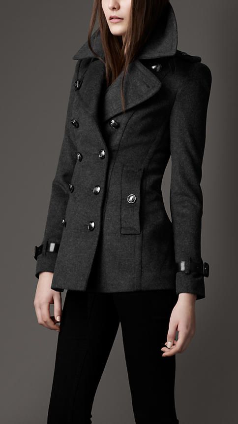 Burberry London Short Wool Cashmere Trench Coat