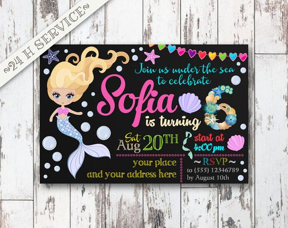 Little Mermaid Chalkboard Birthday Invitation Design, Little Mermaid Birthday, Little Mermaid Invitation, Little Mermaid Birthday Chalkboard