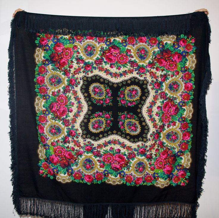 Amazing big black shawl with silk fringes/ Pavlovo Posad shawl/ Piano Shawl/ Vintage Russian Shawl / Folk Scarf with Tassels / Flowers Roses by VintagePolkaShop on Etsy