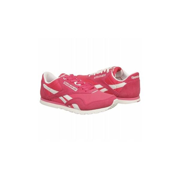 Reebok Women's Classic Nylon Slim Sneaker Shoes (Pink/White/Steel)