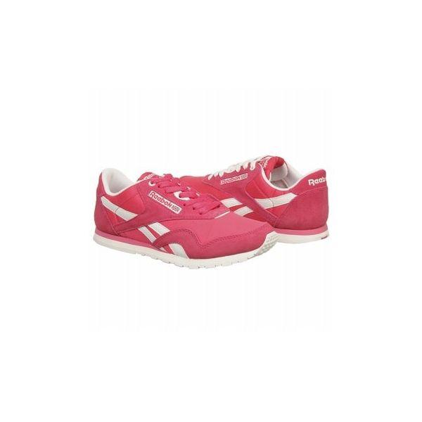 Reebok Women's Classic Nylon Slim Sneaker Shoes (Pink/White/Steel)