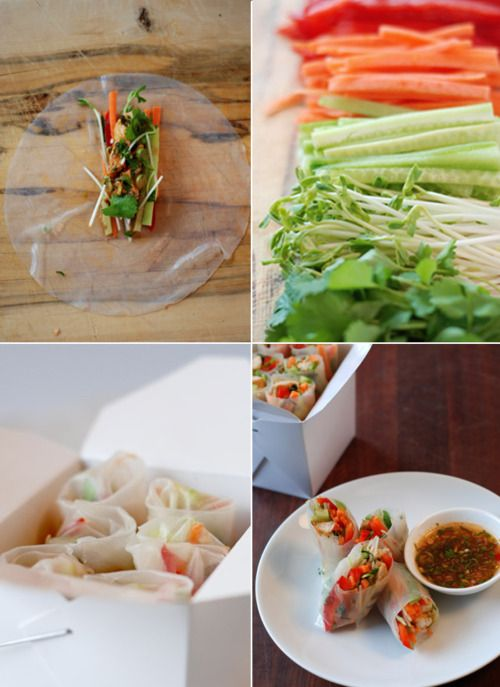 Oh fun! i wanna find these clear wrappy things somewhere. They'd be so good to stick veggies in and have all kinds of dipping sauces to dip them in. wanna try!