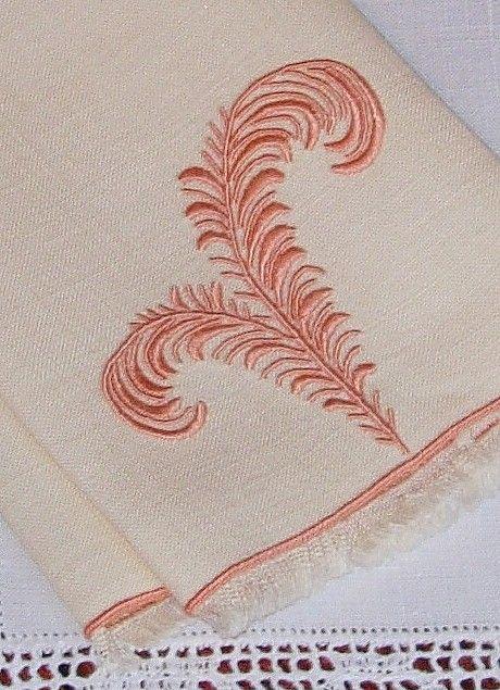 Em's Heart Linens -Vintage Madeira Marghab Embroidered Towel Plume