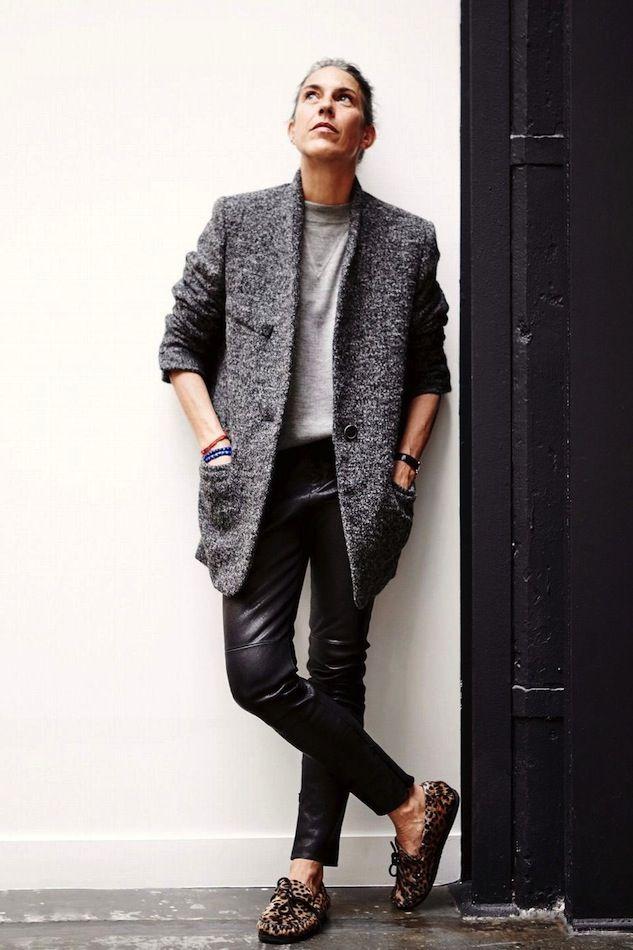 Isabel Marant shot by Caroline de Maigret // blazer, sweatshirt, leather pants & leopard moccasins #style #fashion