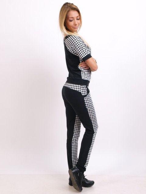 87222d99f28 Гламурный турецкий спортивный костюм женский черно-белый стильный реглан S  M L XL XXL