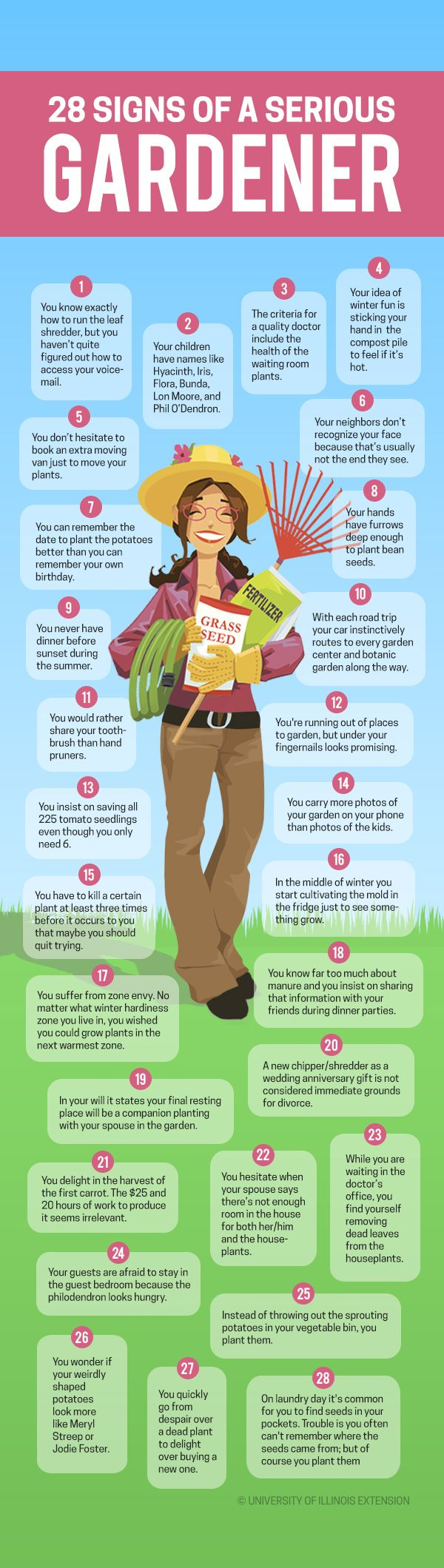 28 Signs You're a Serious Gardener #infographic #funny #list