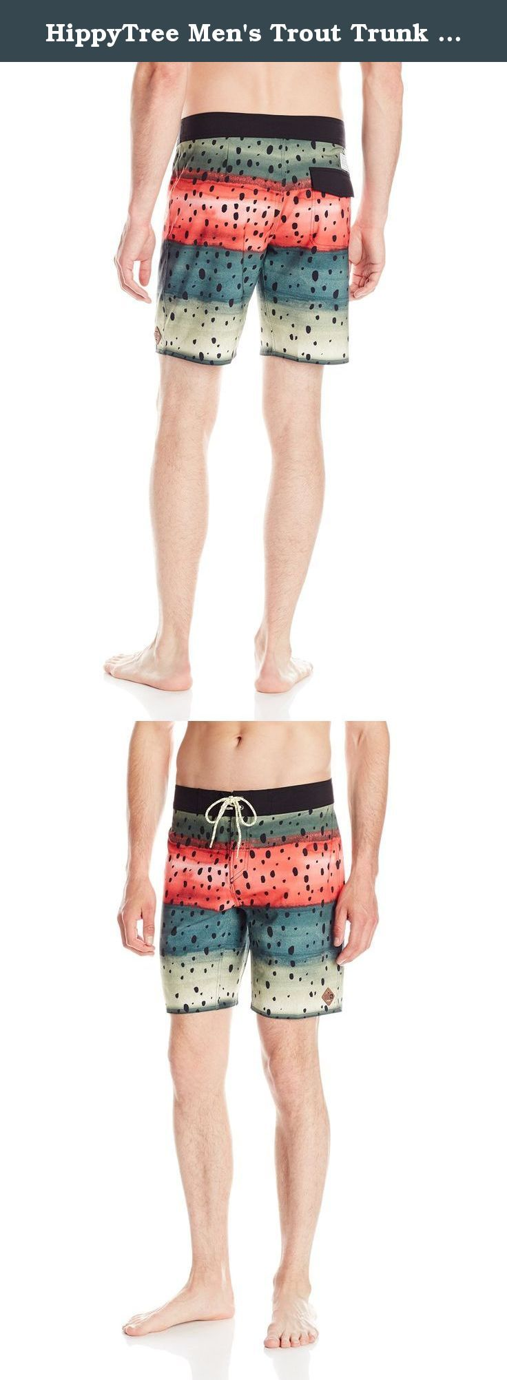 """HippyTree Men's Trout Trunk Shorts, 36, Black. HippyTree is the original """"surf & stone"""" apparel company. Founded in a Hermosa beach garage in 2004 by a local surfer, climber, and artist, HippyTree is dedicated to designing products and graphics that embody the surf and climbing lifestyle. Marked by the green tree logo, HippyTree is committed to softening its environmental impact by using eco-friendly materials and manufacturing. HippyTree apparel is sold in surf, outdoor, and specialty..."""
