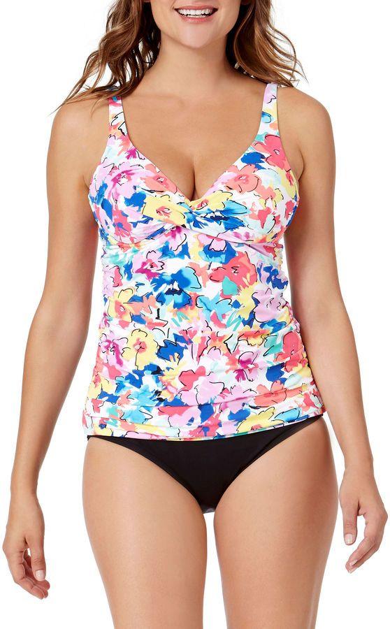LIZ CLAIBORNE Liz Claiborne Floral Tankini Swimsuit Top http://shopstyle.it/l/cbkc