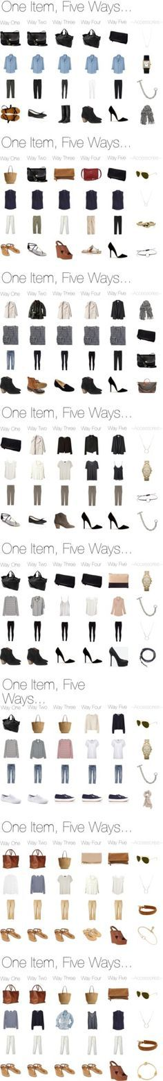 """""""One Item, Five Ways..."""" by keelyhenesey ❤ liked on Polyvore"""