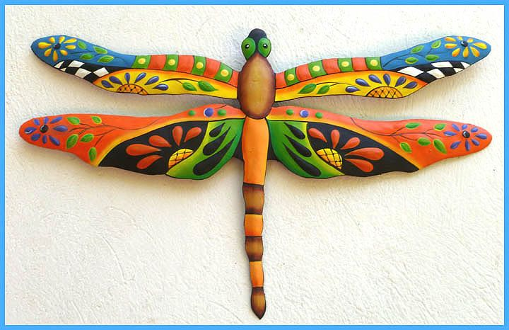 "Metal Art Dragonfly, Hand Painted Metal Dragonfliy Wall Hanging, Tropical Wall Decor, Outdoor Garden Decor - Metal Wall Art - 24"" - J-935-OR by TropicAccents on Etsy"