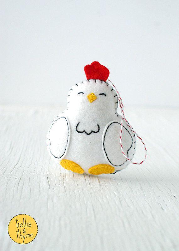 PDF Pattern - Little Hen, Spring Chicken Felt Ornament Pattern, Farm Animal Softie Pattern, Felt Hen Plushie Pattern