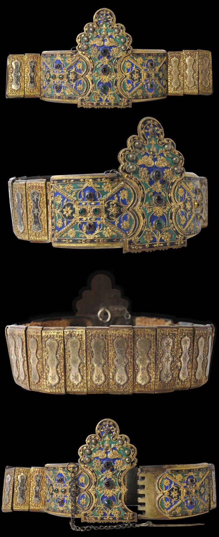 Greece / Thrace | Enamelled and gilded wedding belt, made for a groom to present to his bride | Gilded nickel, gilded silver, enamel and glass paste stones. The metal plates of the belt are attached to woven fabric | 19th century | POR