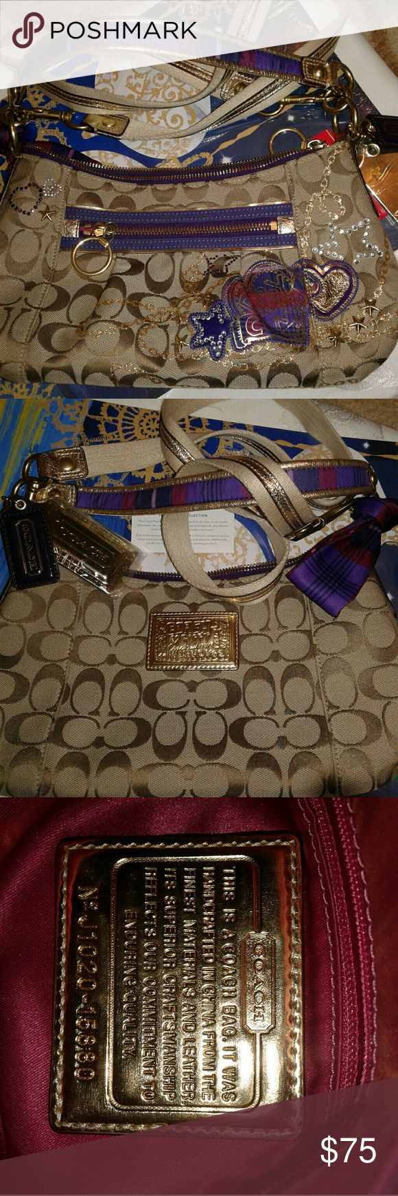NWOT COACH POPPY PURSE COMES with 2 Straps Beautiful COACH POPPY PURSE AWESOME DESIGNS  comes with 2 Straps for over the shoulder  STILL has plastic Coach Bags Shoulder Bags