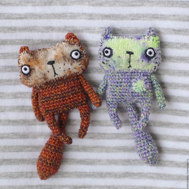 Купить Брошки Котики - комбинированный, кот, котик, брошка, забавная брошь, брошка для девочки