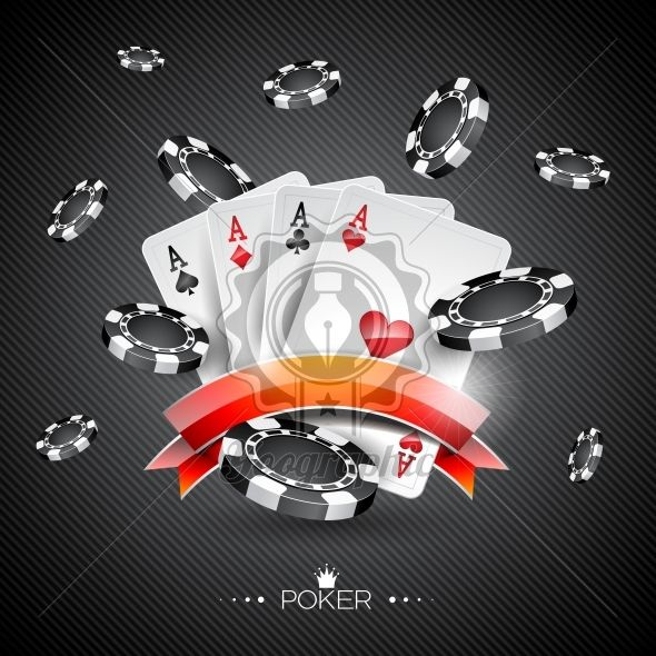 Vector illustration on a casino theme with poker symbols and poker cards on dark background. - Royalty Free Vector Illustration