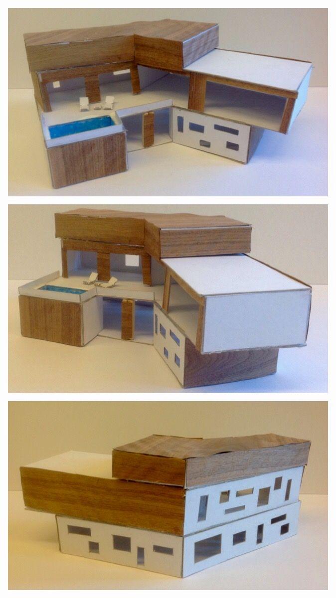 Handvaardigheidswerkstukken 3GT. Opdracht: Bouwen in het klein - Ontwerp en maak een maquette voor een vrijstaand woonhuis met moderne vormgeving. Formaat: 25 cm3. Materiaal: wit karton met keuze voor één extra materiaal en één accentkleur. Groepsopdracht. Schooljaar 15-16.