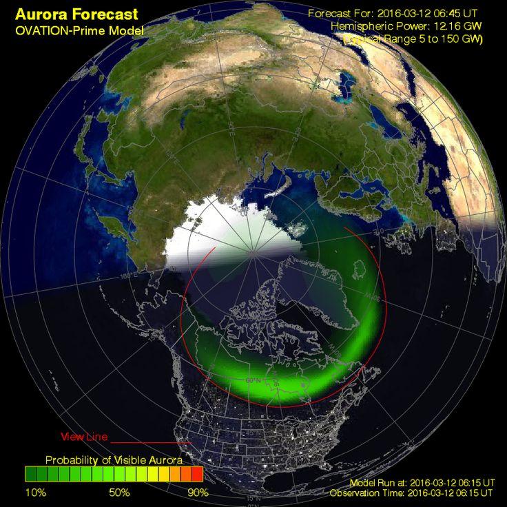 Ovation forecast model - Northern hemisphere