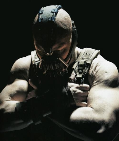 Tom Hardy as Bane.  Welcome to the Bane, pain, train Mr. Wayne