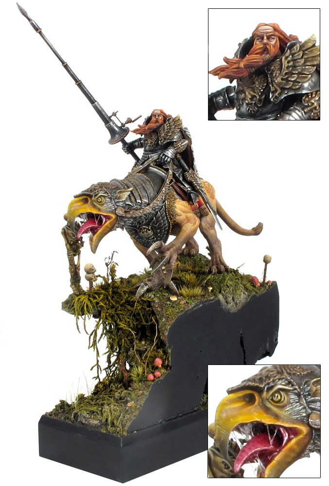 toycutter: Theodore Bruckner, the Champion of Nuln, riding his huge Demigryph (Warhammer)