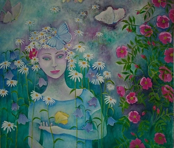 The girl with lemmon butterfly  Acrylics on canvas  60x60 cm
