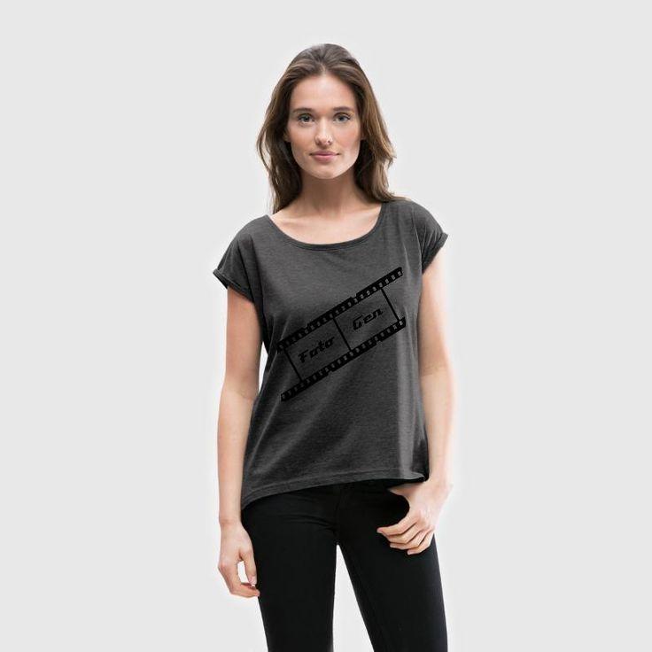 Filmstreifen schräg T-Shirts - Frauen T-Shirt mit gerollten Ärmeln