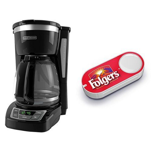 Black & Decker CM1160B 12 Cup Programmable Coffee Market, Digital Control Programmable Coffee Maker & Folger's Dash Button