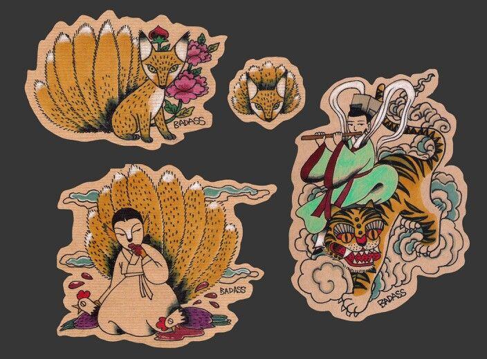 Badass tattoos flash No. 2 Korean falk art style tattoo flash 9 tailed fox and mountain deity