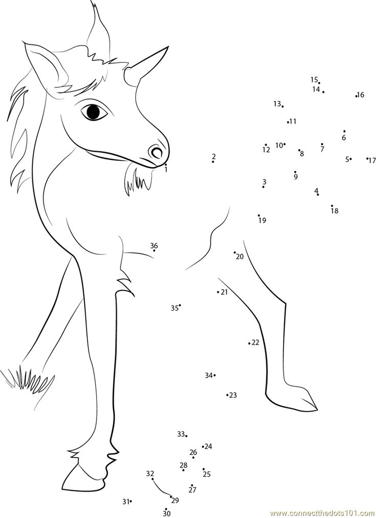 Unicorn Baby Dot to Dot Printable Worksheet - Connect The ...