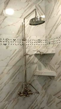 Rohl Country Viaggio exposed thermostatic shower system installed in a Lexington bathroom.