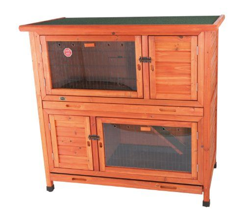 $566.15-$652.99 Natura Two-in-One Rabbit Hutch with Insulation - TRIXIE's Natura Two-in-One Rabbit Hutch with Insulation is ideal for small animals. Our unique design allows you to use this hutch as either two separate or one connected unit.  With our non-slip ramp and open hatch door, your pet is free to roam throughout this two-story hutch.  If you prefer to restrict access between the upper an ...