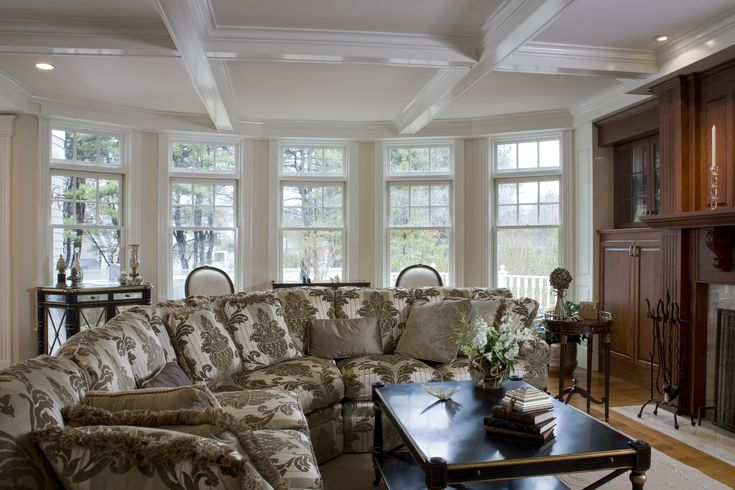 Great room design formal sectional sofa with damask for Window sitting area