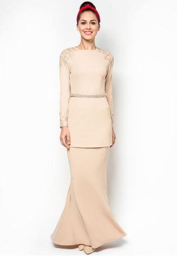 Modern Baju Kurung With Lace Embellishments by Melinda Looi #zalora