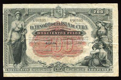 Cuban banknotes 200 Pesos Treasury Note of 1891, El Tesoro de la Isla de Cuba. Cuban peso - peso Cubano, Cuban banknotes, Cuban paper money, Cuban bank notes, Cuba banknotes, Cuba paper money, Cuba bank notes, Billetes Cubanos - billete de 200 pesos, Papel moneda de Cuba.
