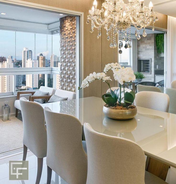 Sala de jantar, estar e varanda integradas com muita sofisticação! …UMA …  – кухни